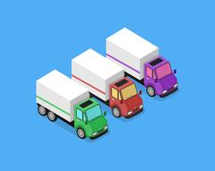 Isometric Delivery Van Car Icon Stock Illustration