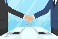 Two businessmen wearing suits and staying in the office do handshake - stock illustration