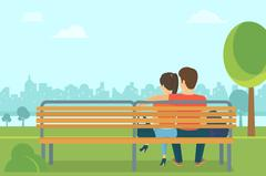 Couple outdoors in the park sitting on bench and looking forward - stock illustration