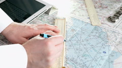 Captain of the aircraft plans a flight route - stock footage