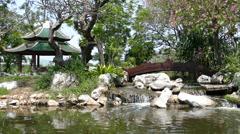 River and bridge at the Mondop of Bodhisattva Avalokitesavara Stock Footage