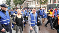 Dutch Police Officers Protesting Working Conditions - The Hagie Netherlands Stock Footage