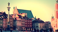 Beautiful sunset over Warsaw's Old Town. Stock Footage