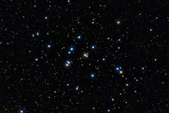 M44 cluster, Colorful stars in the night sky - stock photo