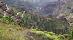 Canary Islands Spain cars driving dangerous switchback mountain roads Stock Footage