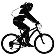 Young woman on a bike trip - stock illustration