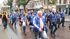 Time Lapse of Dutch Police Officers Protesting Working Conditions - The Hague Stock Footage