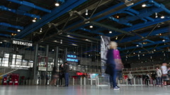 Timelapse of visitors in the hall of Centre Pompidou Stock Footage
