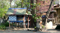 Old Thai spirit houses around Wat Asokaram, Samut Prakan Bangkok Stock Footage