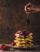 The original Belgian waffles - stock photo