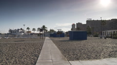 Fuengirola beach late afternoon - winter Stock Footage