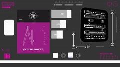 Train scanned - Digital Blueprint - purple 02 - stock footage