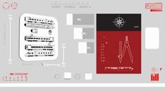 Train scanned - Digital Blueprint - red 01 - stock footage