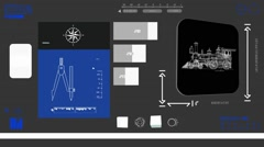 Train monitor - Digital Blueprint - blue 02 - stock footage
