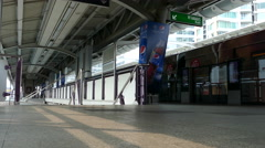 People leaving the BTS train at Chong Nonsi BTS Station at Sathon District Stock Footage