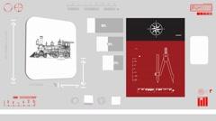 Train monitor - Digital Blueprint - red 01 - stock footage