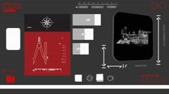 Train monitor - Digital Blueprint - red 02 - stock footage