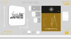 Train monitor - Digital Blueprint - yellow 01 - stock footage