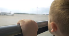 Child having a bus ride on airport area Stock Footage