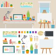 Illustrator working place with artistic tools - stock illustration