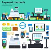 Payment methods with devices on the table - stock illustration