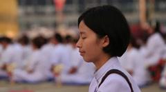 Buddhist ceremony Magha Puja Day in Wat Phra Dhammakaya . Bangkok, Thailand Stock Footage