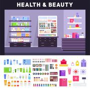 Beauty store with cosmetics on the shelves - stock illustration