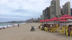 Fortaleza skyline with beach and cafe, Brazil Stock Footage