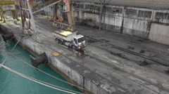 Lorry being loaded from cargo ship, Fortaleza port, Brazil Stock Footage