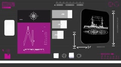 Cargo Ship - Coding Info - purple 02 Stock Footage