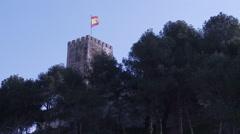 Fuengirola spanish flag castle Stock Footage