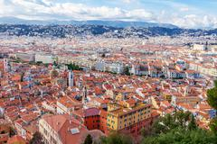 View of old center of Nice. Cote d'Azur, French Riviera. - stock photo