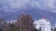 The mountain in mist behind Fuengirola Stock Footage
