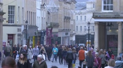 Busy street in the City of Bath Stock Footage