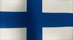 Finland Flag waving in the wind in sun rise, Close up of the Finland flag waving - stock footage