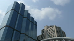 Time lapse from Skyscrapers next to the skywalk at Sathon District in Bangkok Stock Footage