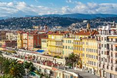 View of streets and landmarks. Villefranche-sur-Mer, Nice, Cote d'Azur, Frenc - stock photo