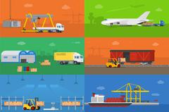 Set of banners on the theme logistics warehouse freight cargo transportation. Stock Illustration