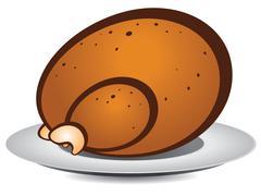 Cartoon roast turkey Stock Illustration
