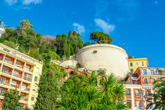 View of streets and landmarks. Villefranche-sur-Mer, Nice, Cote d'Azur, Frenc Stock Photos