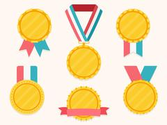 Medals with Ribbons Stock Illustration