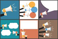 Hand with Megaphone Flat Vector Images Set - stock illustration