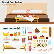 Little table with breakfast near the bed Stock Illustration