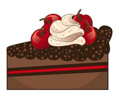 Chocolate cake slice Stock Illustration