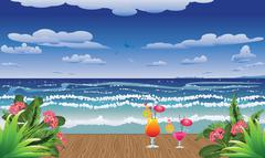 Cocktails on jetty Stock Illustration