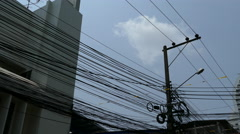 Electricity wires at the street in Silom Bangkok Thailand - stock footage