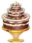 Decorated Chocolate Cake - stock illustration