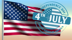 4th July American Independence Day as animation background. 4K motion. Stock Footage