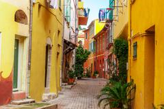 View of streets. Villefranche-sur-Mer, Nice, Cote d'Azur, French Riviera. - stock photo