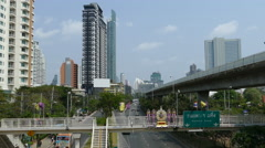 Cityscape view from the Krung Thonburi BTS station in Bangkok Thailand Stock Footage